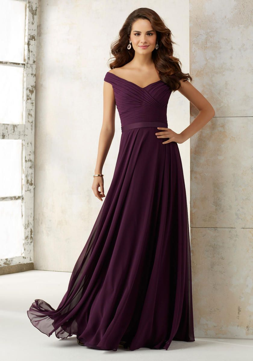 Size 6 Eggplant Morilee 21523 Off Shoulder Bridesmaid Dress French Novelty