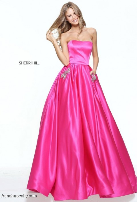 Size 20 Fuchsia Sherri Hill 50812 Ball Gown with Beaded Pockets ...