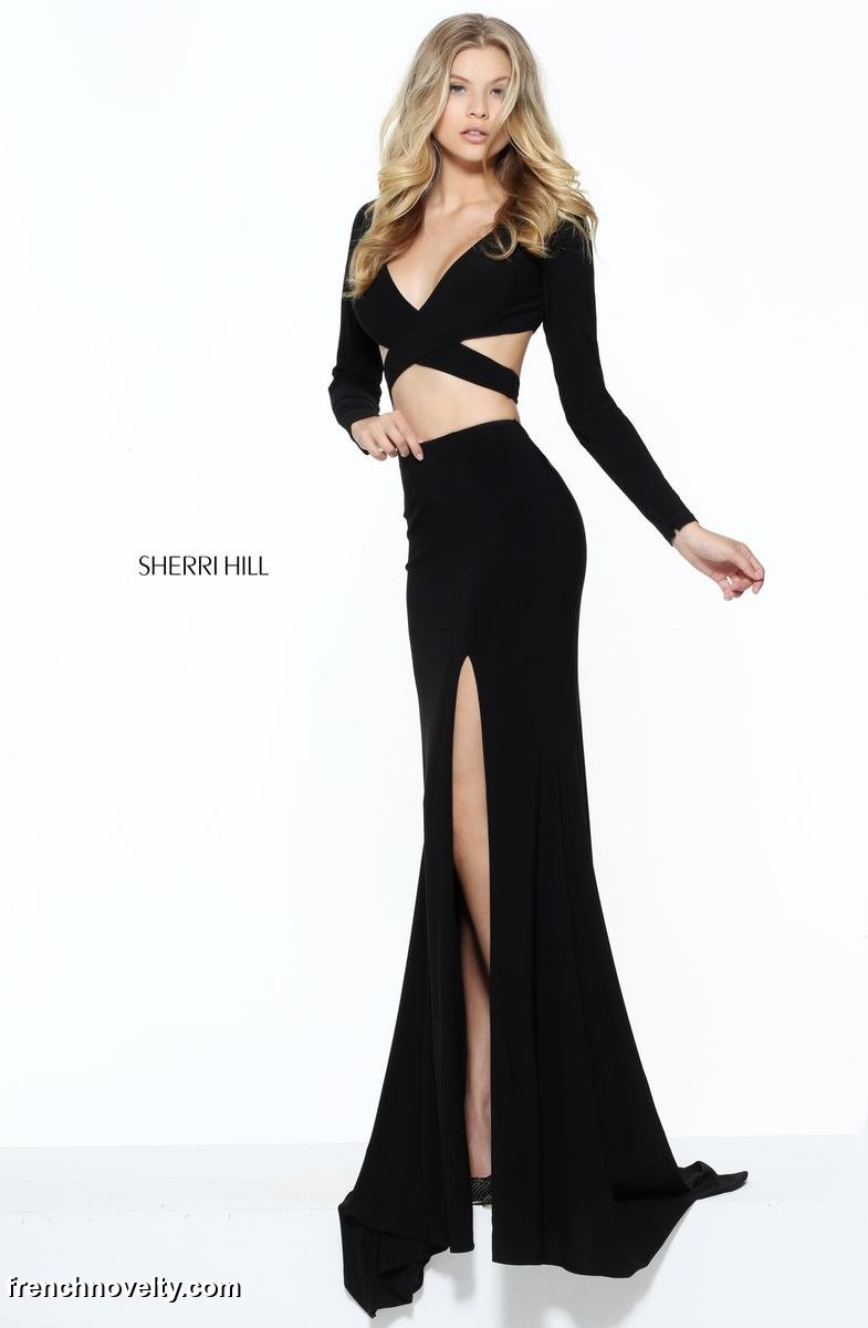 Size 6 Black Sherri Hill 50920 Long Sleeve 2 Piece Gown: French Novelty