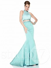 9fa2651399932 Size 4 Turquoise Studio 17 12595 Lace Choker 2pc Prom Dress