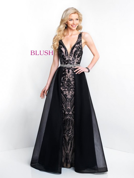 Size 8 Black-Nude Blush 11546 Pattern Sequin Prom Gown: French Novelty