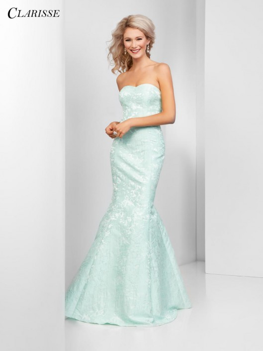 Size 6 Mint Clarisse 3415 Brocade Mermaid Prom Dress: French Novelty