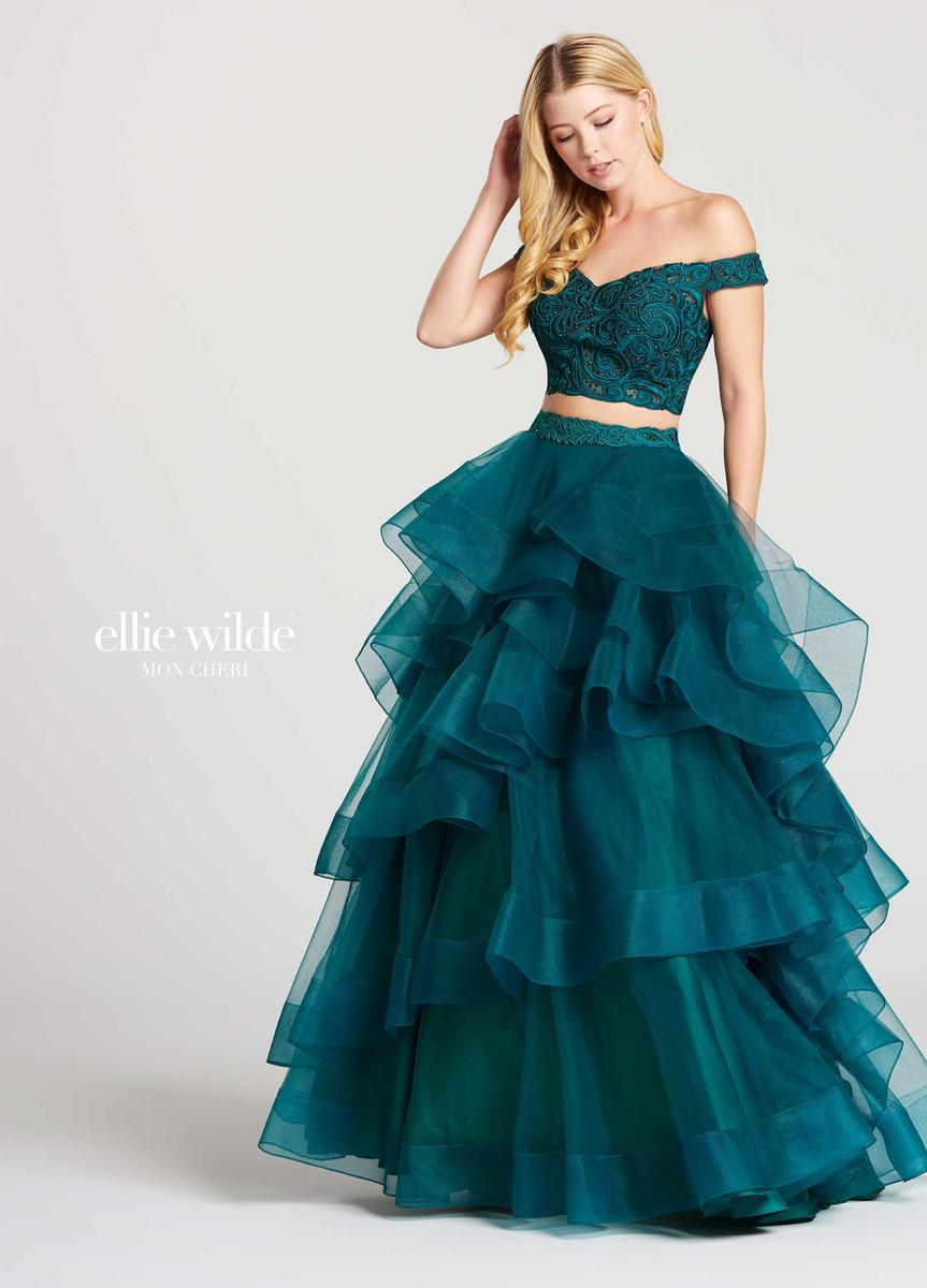 Ellie wilde for mon cheri ew118040 ruffle 2pc gown french for Pc mary s wedding dress