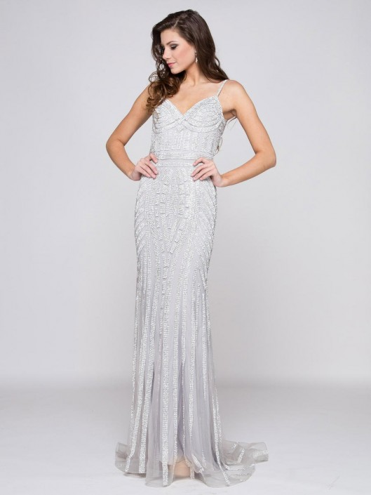 66b2bf46ed9de Glow by Colors G664 Fitted Beaded Gown: French Novelty