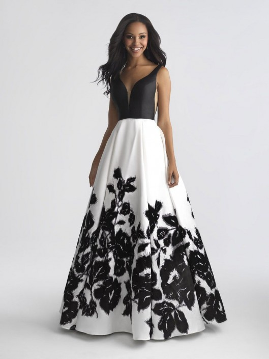 Size 4 Ivory Madison James 18-681 Floral Mikado Prom Dress: French ...