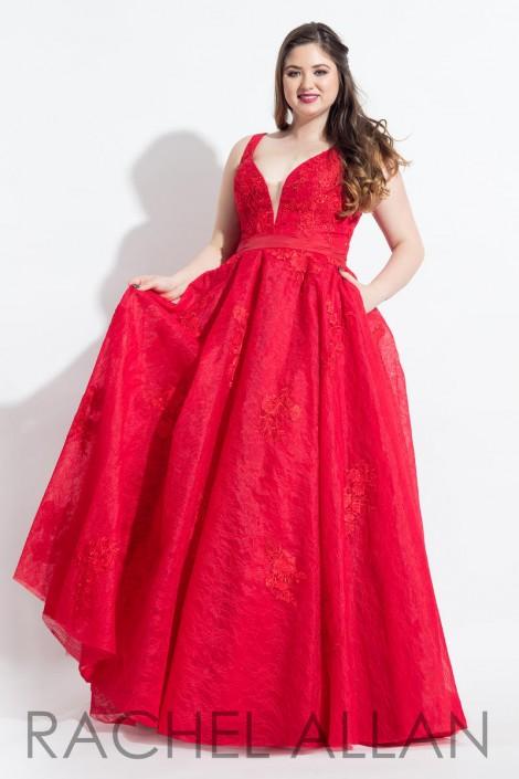 Size 16W Red Rachel Allan Curves 6320 Plus Size Lace Prom Dress