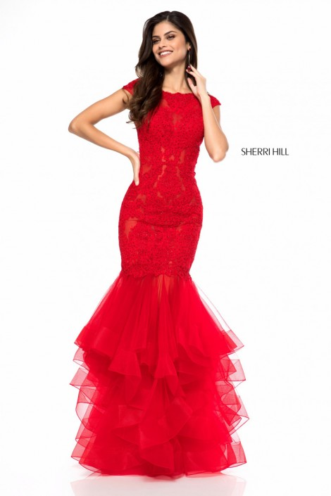 Size 00 Red Sherri Hill 51564 Tiered Mermaid