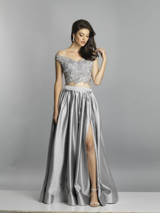 96f336bbc460 Size 6 Gray Dave and Johnny A7796 Off Shoulder 2 Piece Prom Gown: French  Novelty
