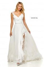 15e98aa387 Size 0 Ivory Sherri Hill 52643 Boho Ruffle Prom Dress