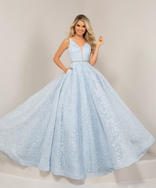 9c99c91b569 Size 14 Pale Blue Tiffany Designs 16325 Metallic 3D Floral Prom Gown  French  Novelty
