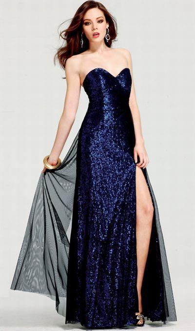 Dark blue sparkly prom dresses
