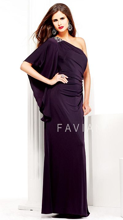 Faviana Glamour One Shoulder Evening Dress S7049 with Draped ...