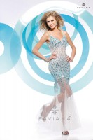 Faviana Glamour S7153 Beaded Illusion Tulle Prom Gown image