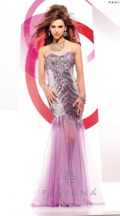 027925f85 Faviana Glamour S7154 Print Sequin Mermaid Gown: French Novelty