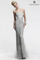 Faviana Glamour S7452 Beaded Tulle Formal Dress image