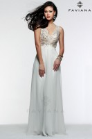 Faviana Glamour S7504 Lace V Neck Chiffon Gown image