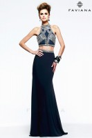 Faviana Glamour S7537 2pc Beaded Jersey Prom Dress image