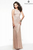 Faviana Glamour S7566 Scoop Neck Tulle Prom Gown image