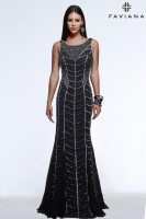 Faviana Glamour S7568 Racer Back Tulle Prom Gown image