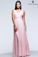Faviana Glamour S7577 V Neck Chiffon Evening Dress image