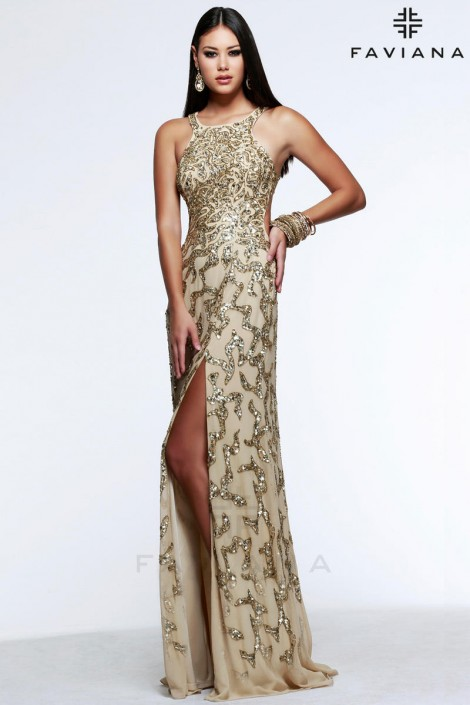 Faviana Glamour S7597 Beaded High Neck Prom Dress: French Novelty
