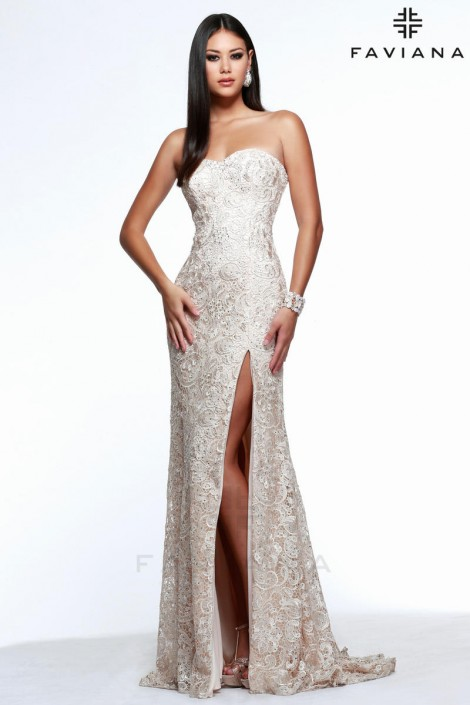 Faviana Glamour S7601 Long Lace Prom Dress: French Novelty