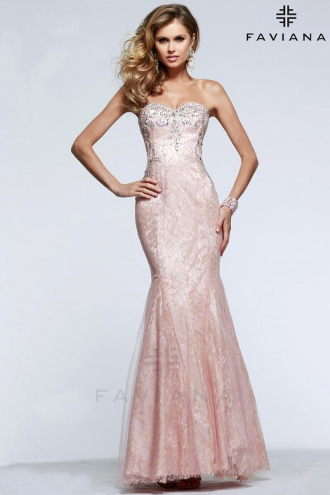 Faviana Glamour S7603 Tulle with Lace Prom Dress: French Novelty