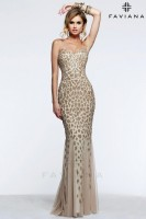 Faviana Glamour S7610 Gown with Beaded Animal Design image