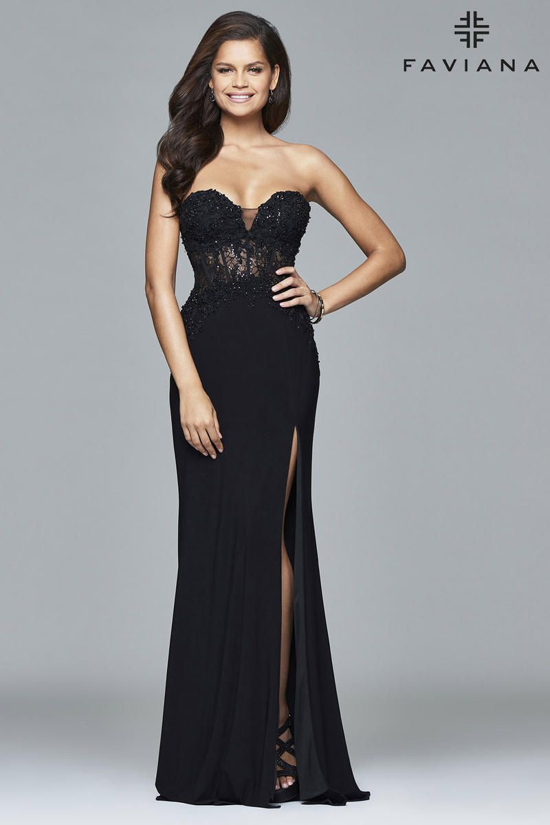 Faviana Glamour S7907 Lace Corset Prom Gown French Novelty