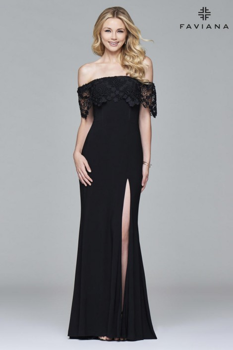 Faviana Glamour S7937 Off Shoulder Flowy Lace Dress: French Novelty