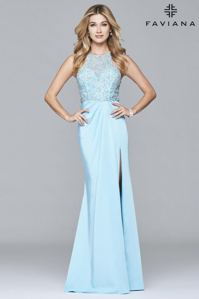 Faviana Glamour S7955 Fitted Beaded Gown French Novelty