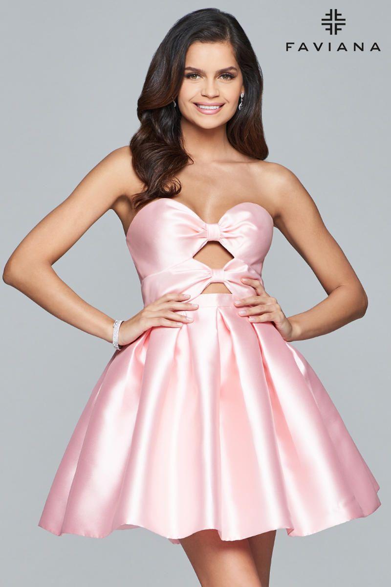 Faviana Glamour S8061 Bow Cutout Short Homecoming Dress