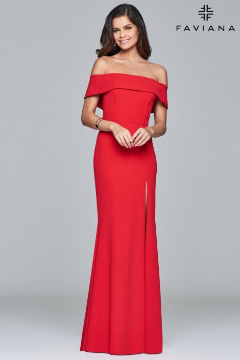 Faviana Glamour S8085 Off Shoulder Gown with High Slit: French Novelty