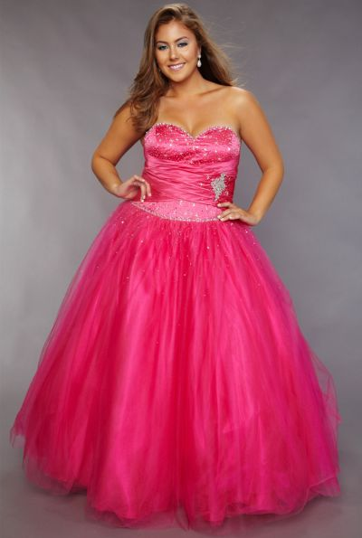 Sydneys Closet Plus Size Fuchsia Cinderella Ball Gown for Prom ...