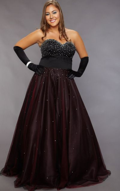 Sydneys Closet Plus Size Strapless Prom Dress With Lace Up Back