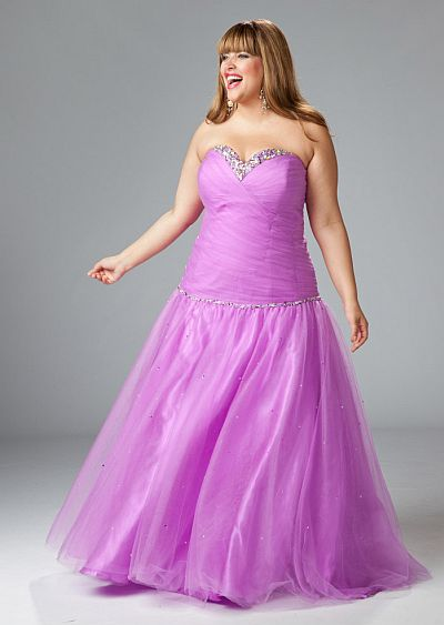 Sydneys Closet Plus Size Beaded Orchid Prom Ball Gown