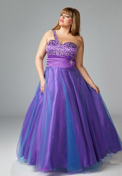Sydneys Closet Plus Size One Shoulder Prom Ball Gown Sc3028 French