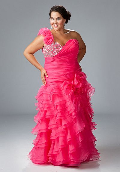 Sydneys Closet Plus Size Ruffle One Shoulder Prom Dress SC3032 ...
