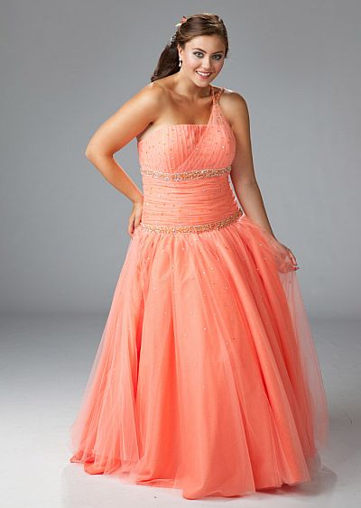 Sydneys Closet Plus Size Orange Tulle Ball Gown For Prom Sc3034