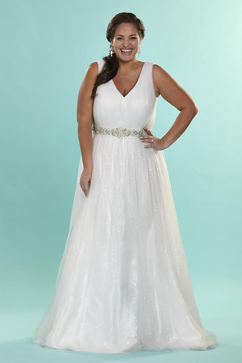 Sydneys Closet SC5066 Plus Size Destination Wedding Dress French Novelty