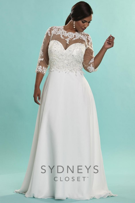Sydneys Closet SC5072 Signature Plus Size Illusion Wedding Gown ...