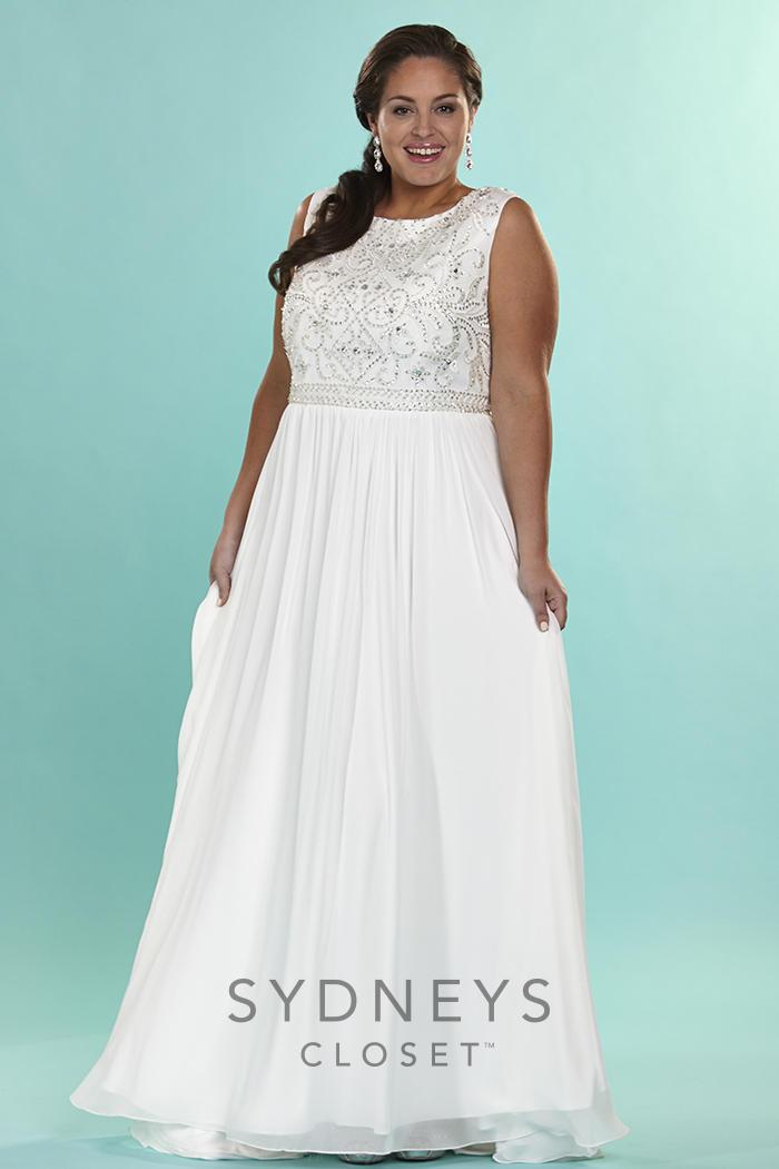 Sydneys Closet SC5074 Plus Size Destination Wedding Dress French Novelty