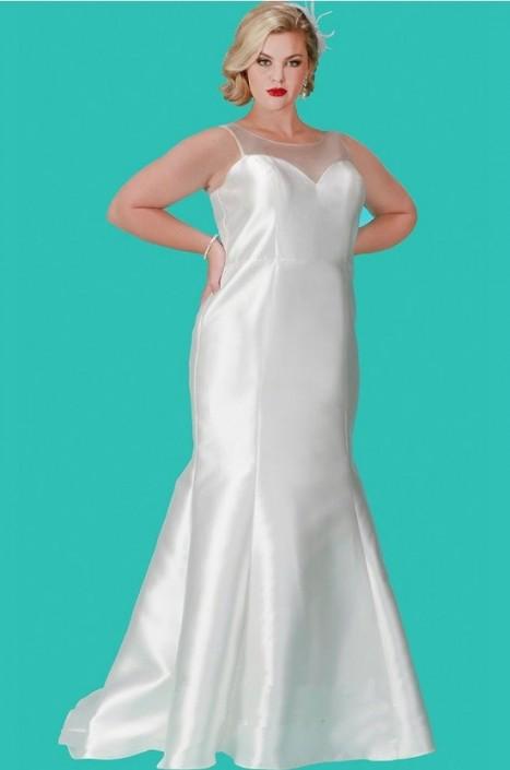 Sydneys Closet SC5201 Informal Plus Size Mikado Bridal Gown