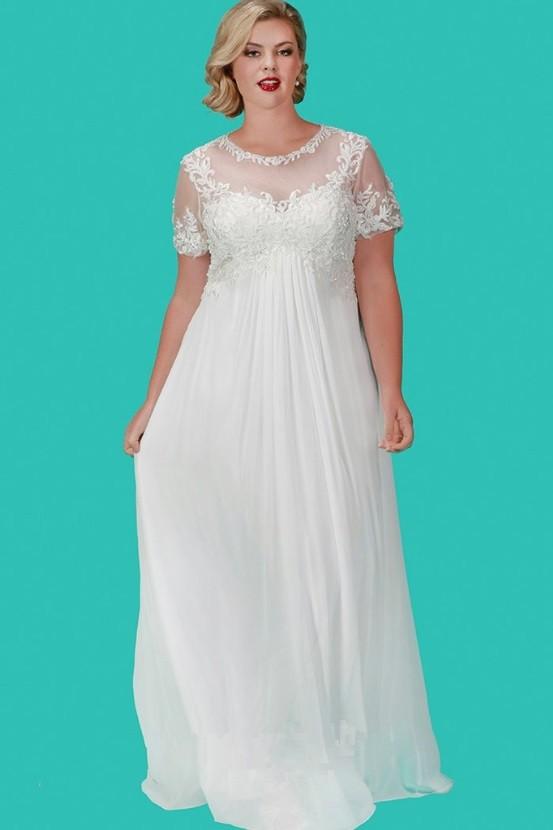 Sydneys Closet SC5206 Informal Plus Size Empire Bridal Gown French Novelty
