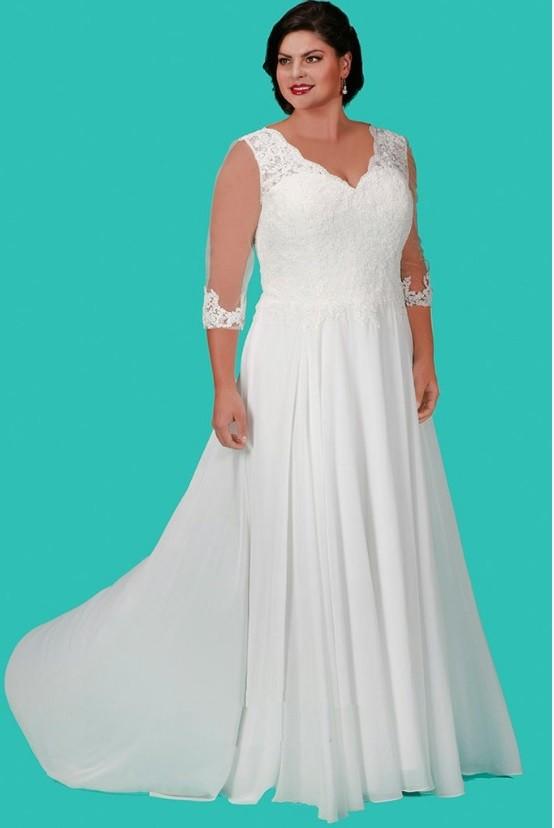 Sydneys Closet SC5207 Lace Plus Size Wedding Gown French Novelty