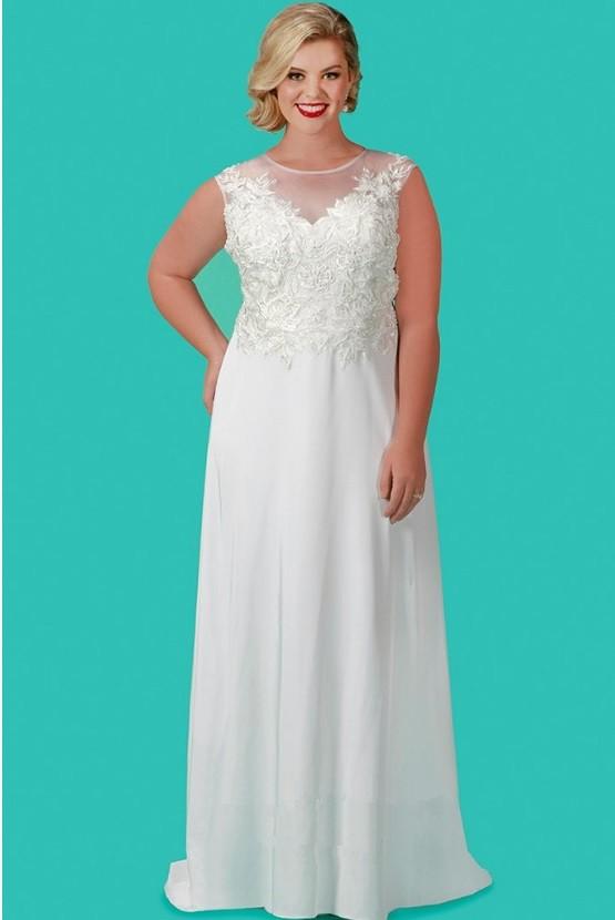 Sydneys Closet SC5210 Plus Size Informal Wedding Gown French Novelty