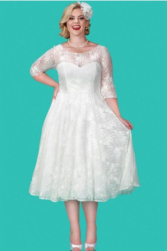 Sydneys Closet SC5212 Plus Size Tea Length Wedding Dress French Novelty