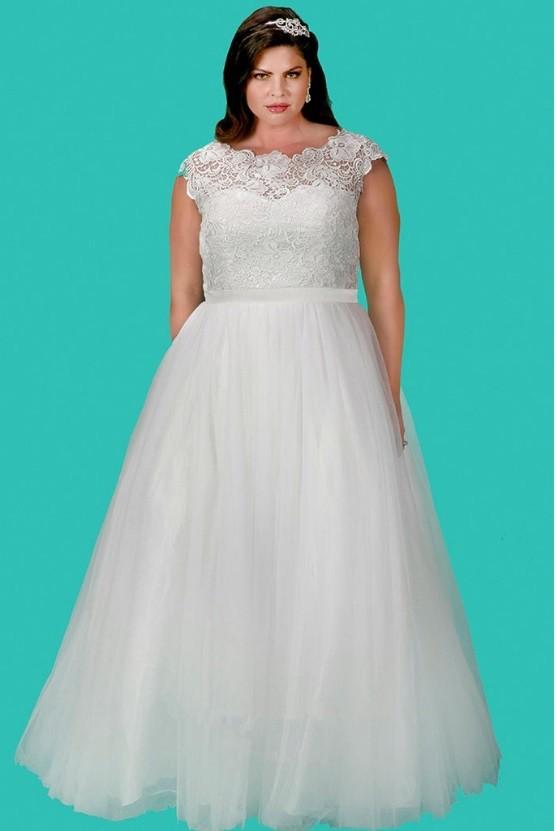 Sydneys Closet SC5213 Feminine Plus Size Wedding Dress French Novelty