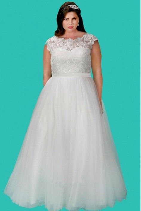 Size 28 Ivory Sydneys Closet SC5213 Plus Size Wedding Dress: French ...