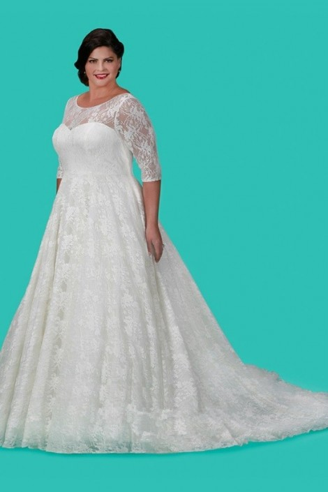 Sydneys Closet SC5216 Plus Size Lace Casual Wedding Gown